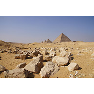 Saleh Settlement: Site: Giza; View: Saleh Settlement, Menkaure Pyramid, Menkaure Pyramid Temple, G III-a, G III-b, G III-c