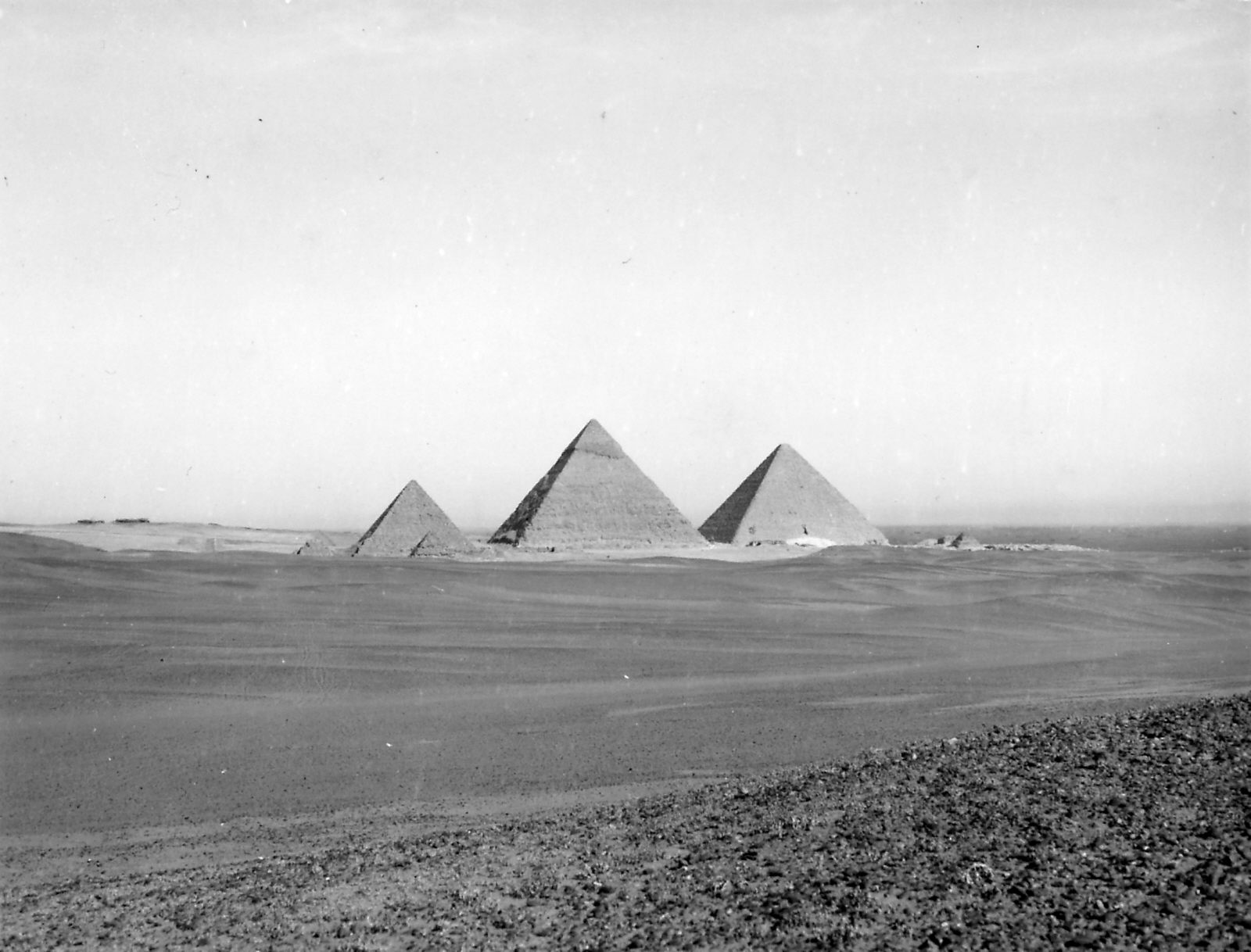 General view: Site: Giza; View: Khufu Pyramid, Khafre Pyramid, Menkaure Pyramid