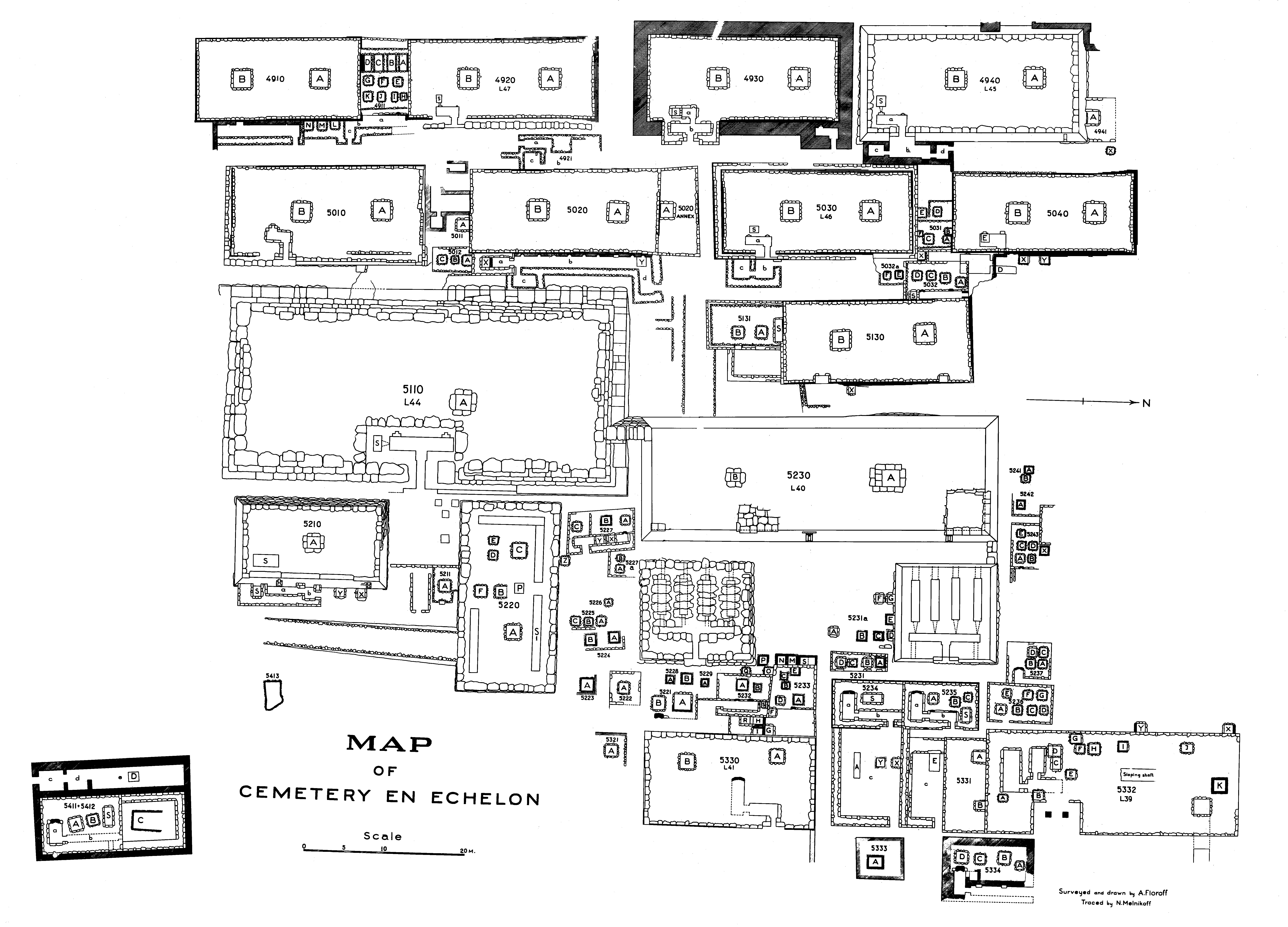 Maps and plans: Plan of Cemetery en Echelon: cemetery G 5000