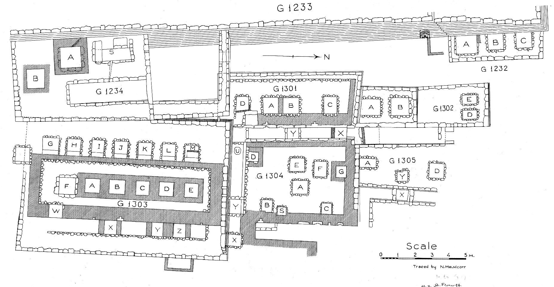 Maps and plans: Plan of cemetery G 1300 (N portion), G 1232 - 1234, G 1301 - 1305