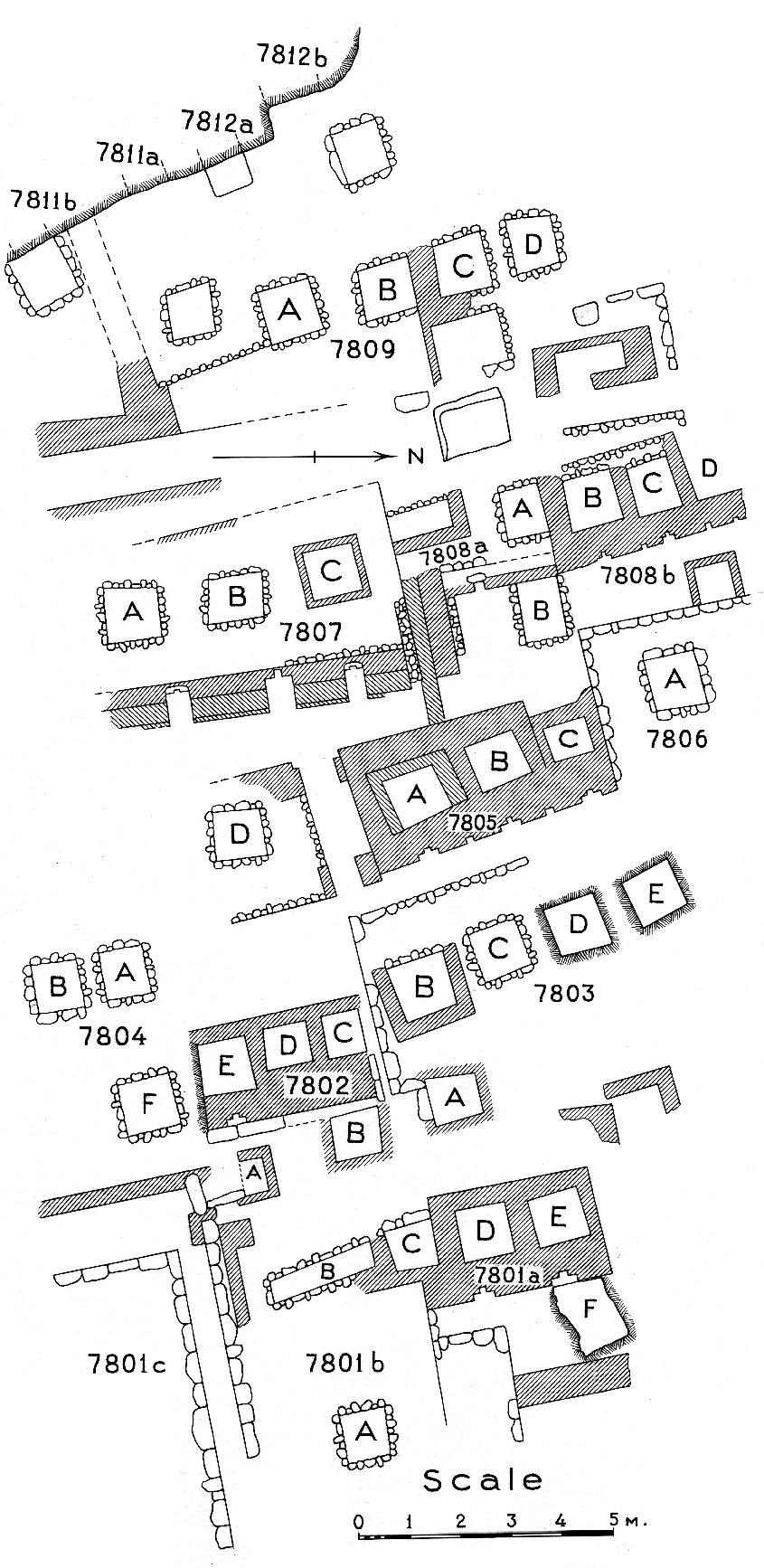 Maps and plans: Plan of cemetery G 7000: G 7800s (1 of 2)