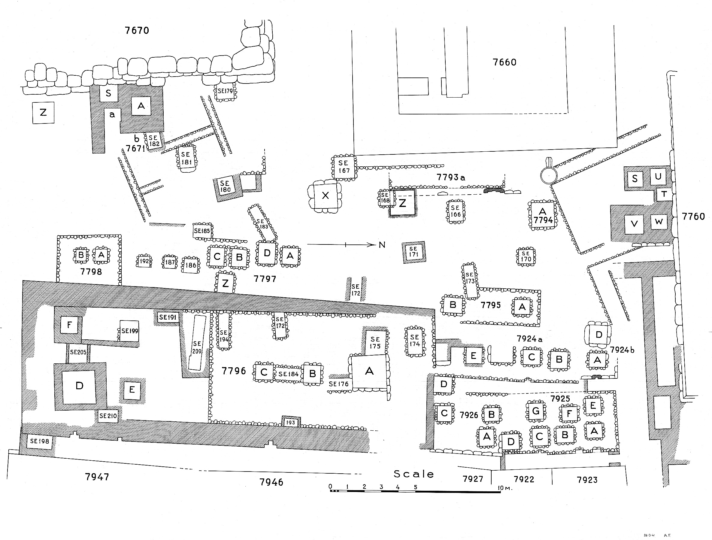 Maps and plans: Plan of cemetery G 7000: G 7600s, G 7700s, G 7900s (1 of 2)