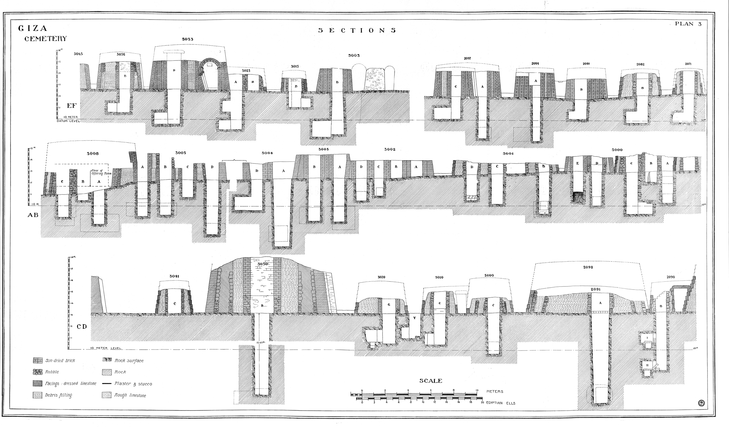 "Maps and plans: Plan #3 of Fisher ""Minor Cemetery"" G 3000 - Cross Sections"