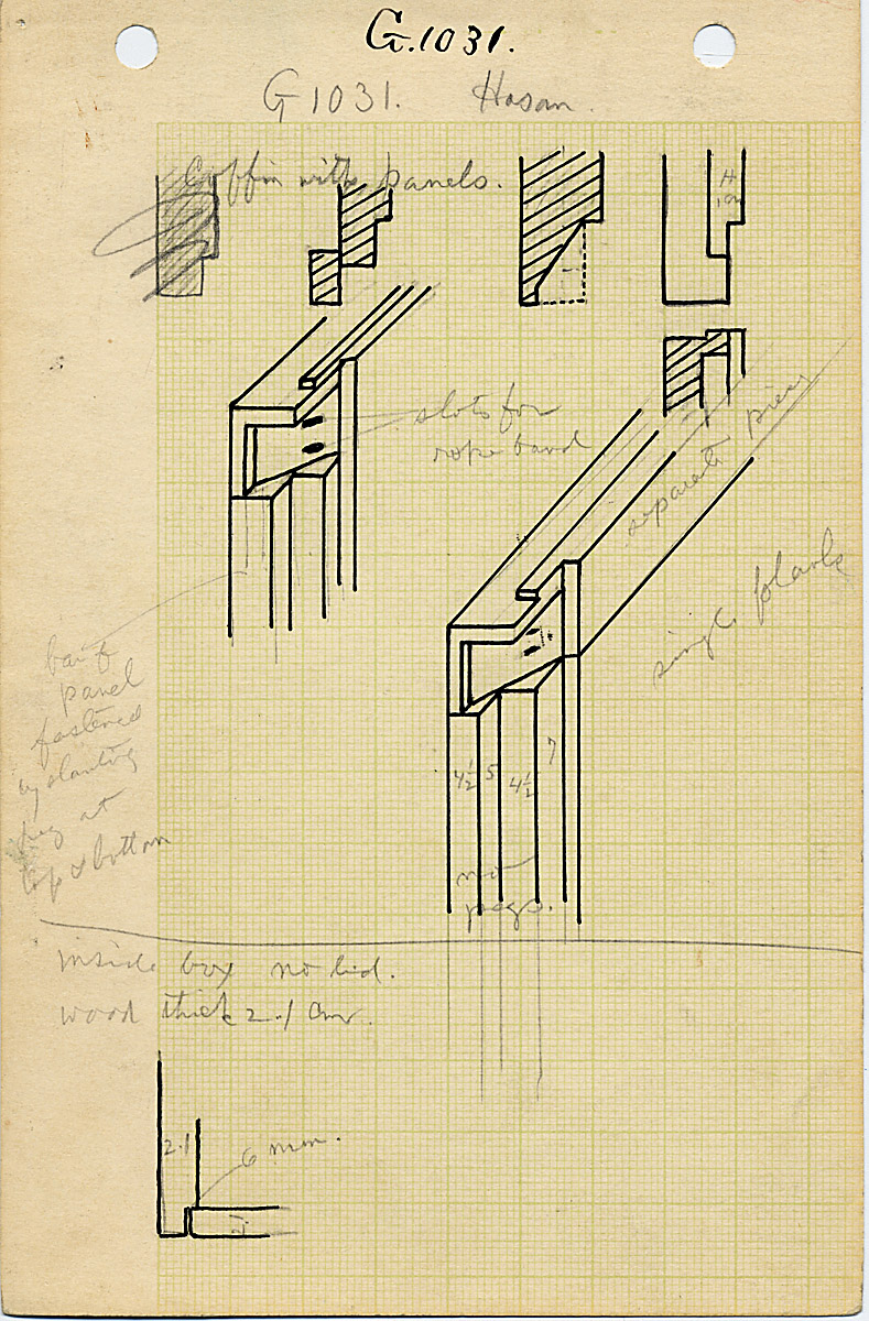 Maps and plans: G 1031, Shaft A, wood coffin, joinery