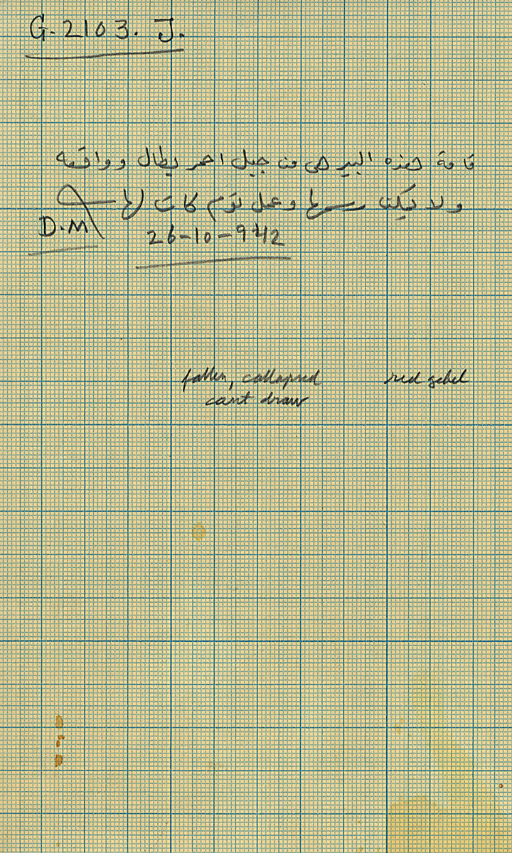 Notes: G 2103, Shaft J, notes (in Arabic)