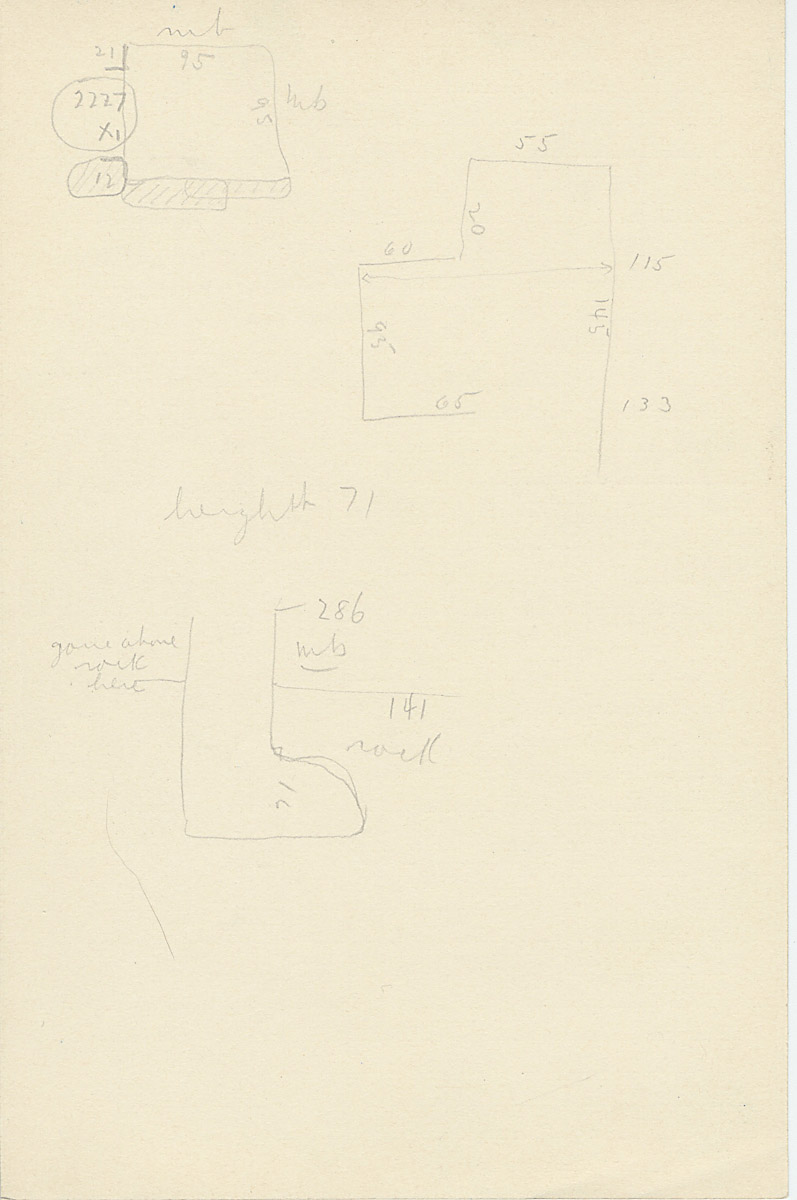 Maps and plans: G 2177, Shaft X, notes