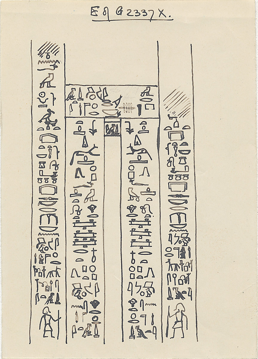 Drawings: G 2337 X, False door inscribed for Djati