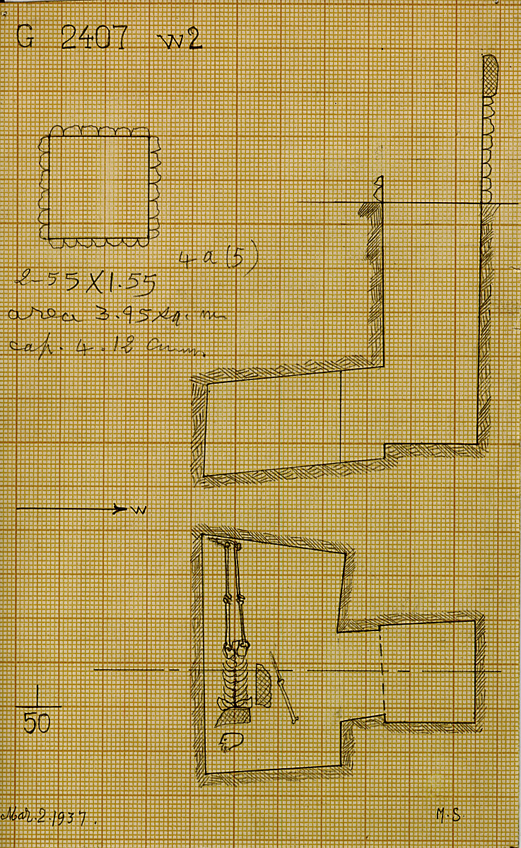 Maps and plans: G 2407, Shaft W2