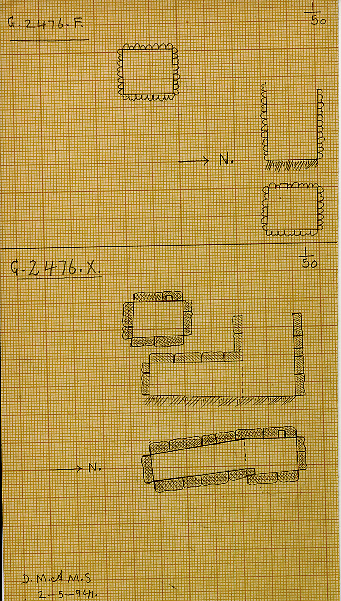 Maps and plans: G 2476, Shaft F and X