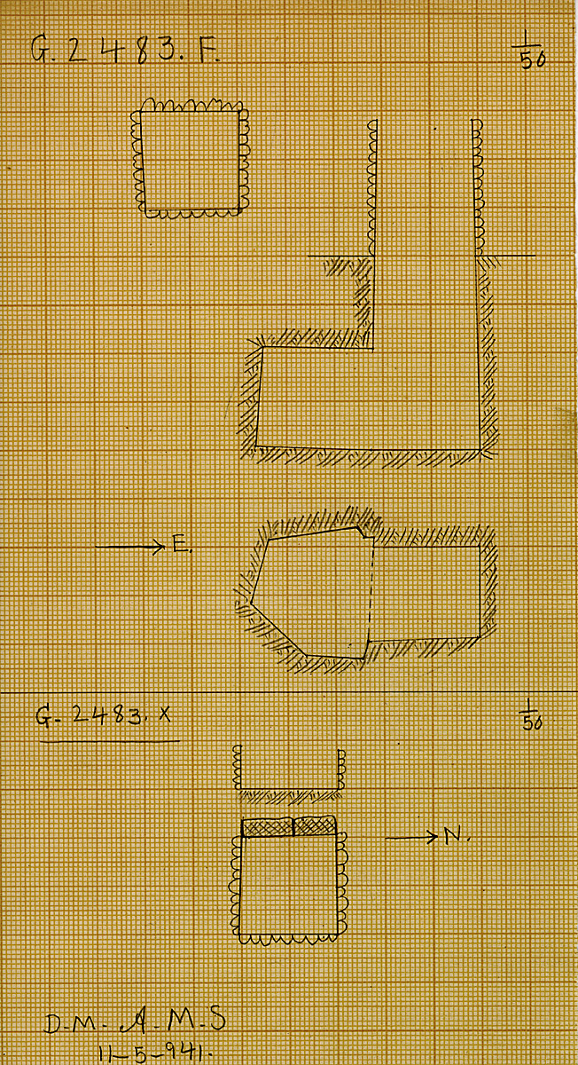 Maps and plans: G 2483, Shaft F and X