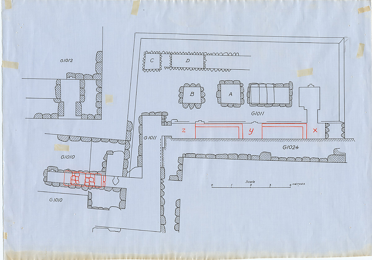 Maps and plans: Plan of G 1010, G 1011, G 1012 (partial), with position of G 1024