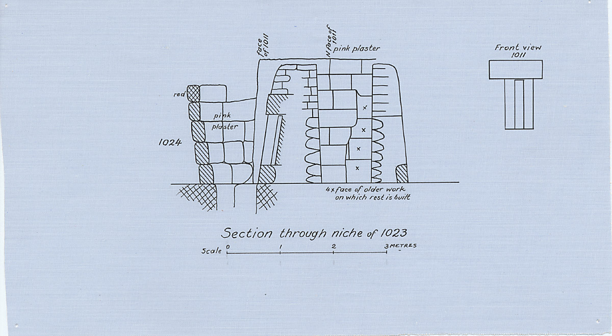 Maps and plans: Section through G 1023 niche, with position of G 1024 & Drawing of G 1011 niche