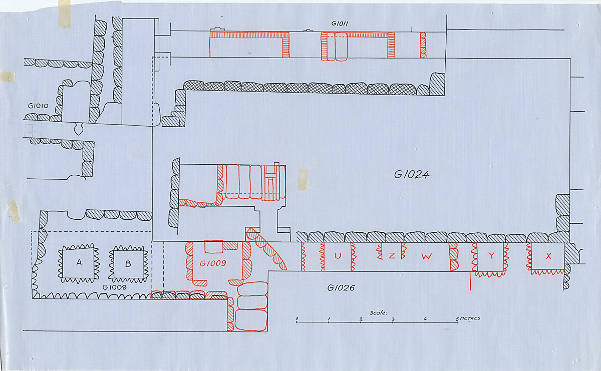Maps and plans: Plan of G 1009 and G 1024, with position of G 1010, G 1011, G 1026