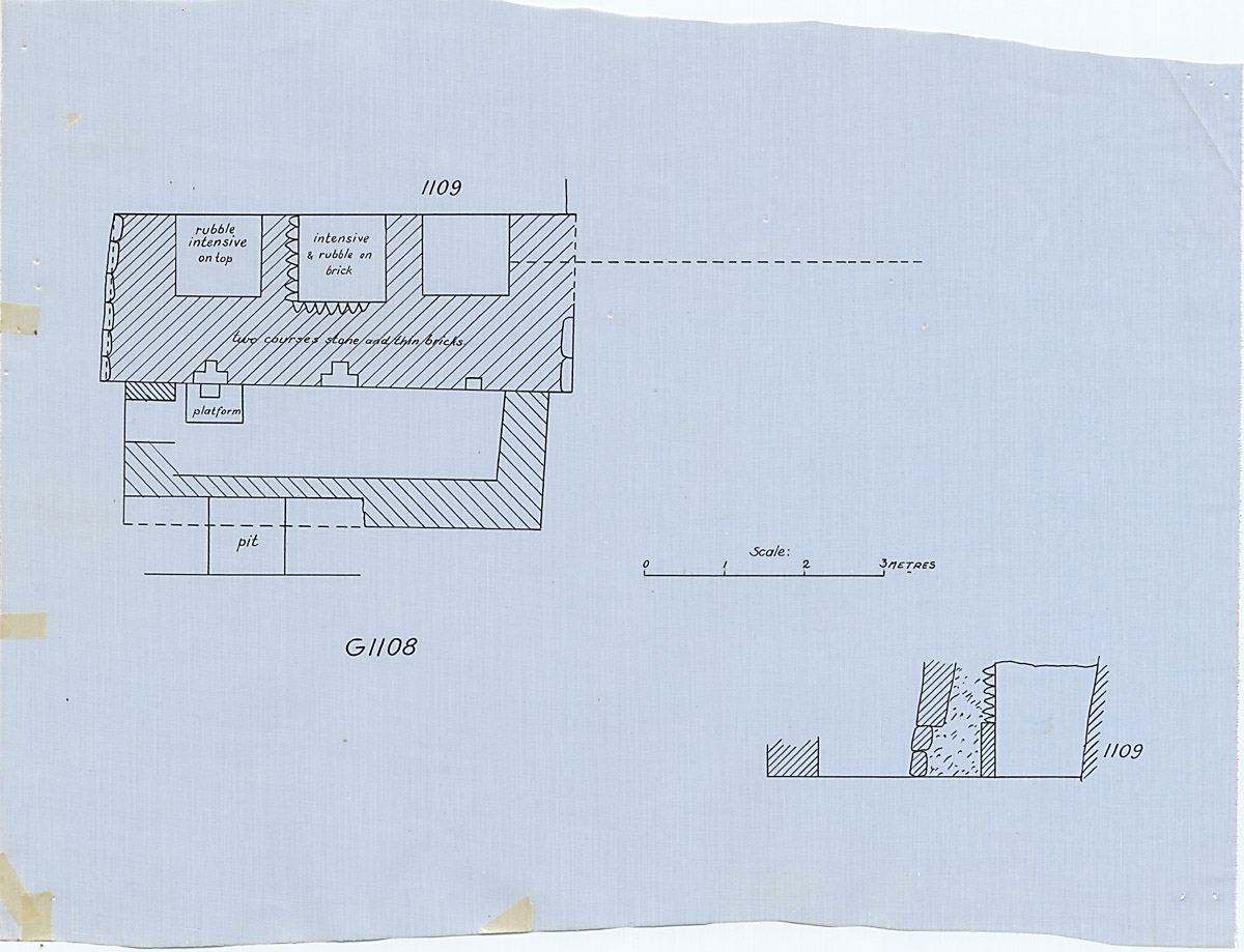 Maps and plans: Plan and section of G 1108, with position of G 1109