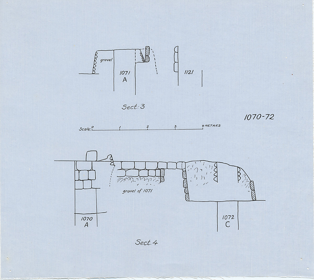 Maps and plans: Section of G 1070, G 1071, G 1072, with position of G 1121
