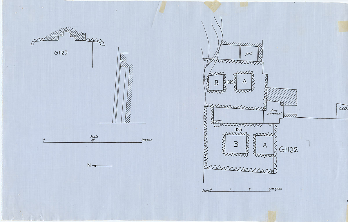 Maps and plans: Plan of G 1079, G 1080, G 1123, with position of  G 1122 & Plan and section of G 1123 niche