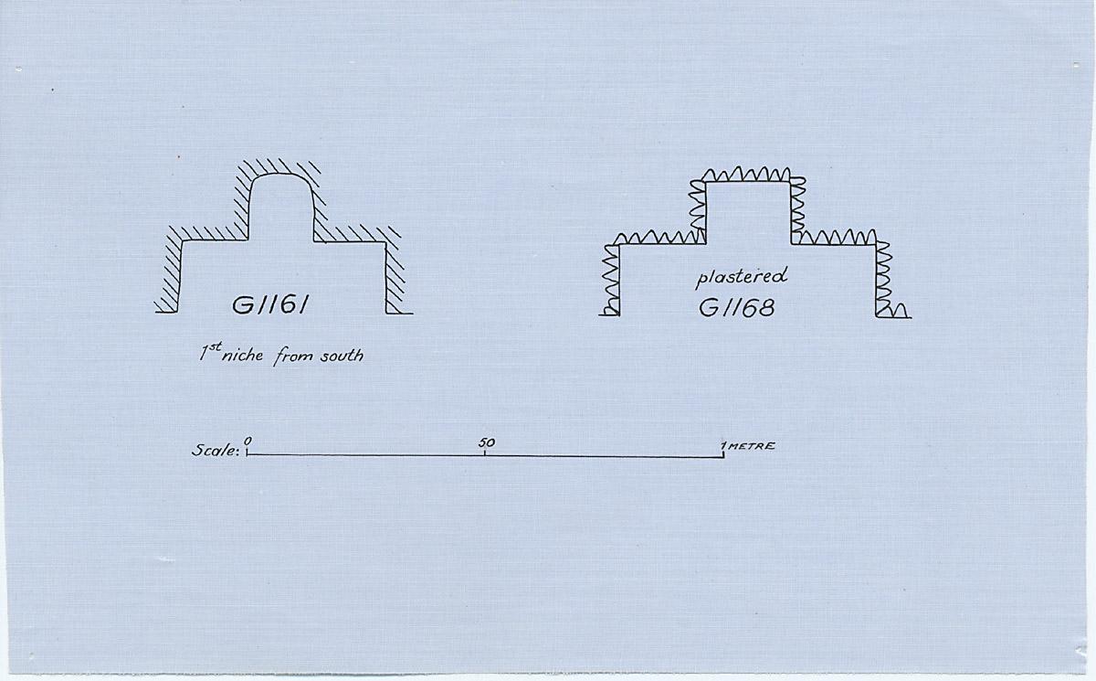 Maps and plans: Plan of G 1161 niche & G 1168 niche