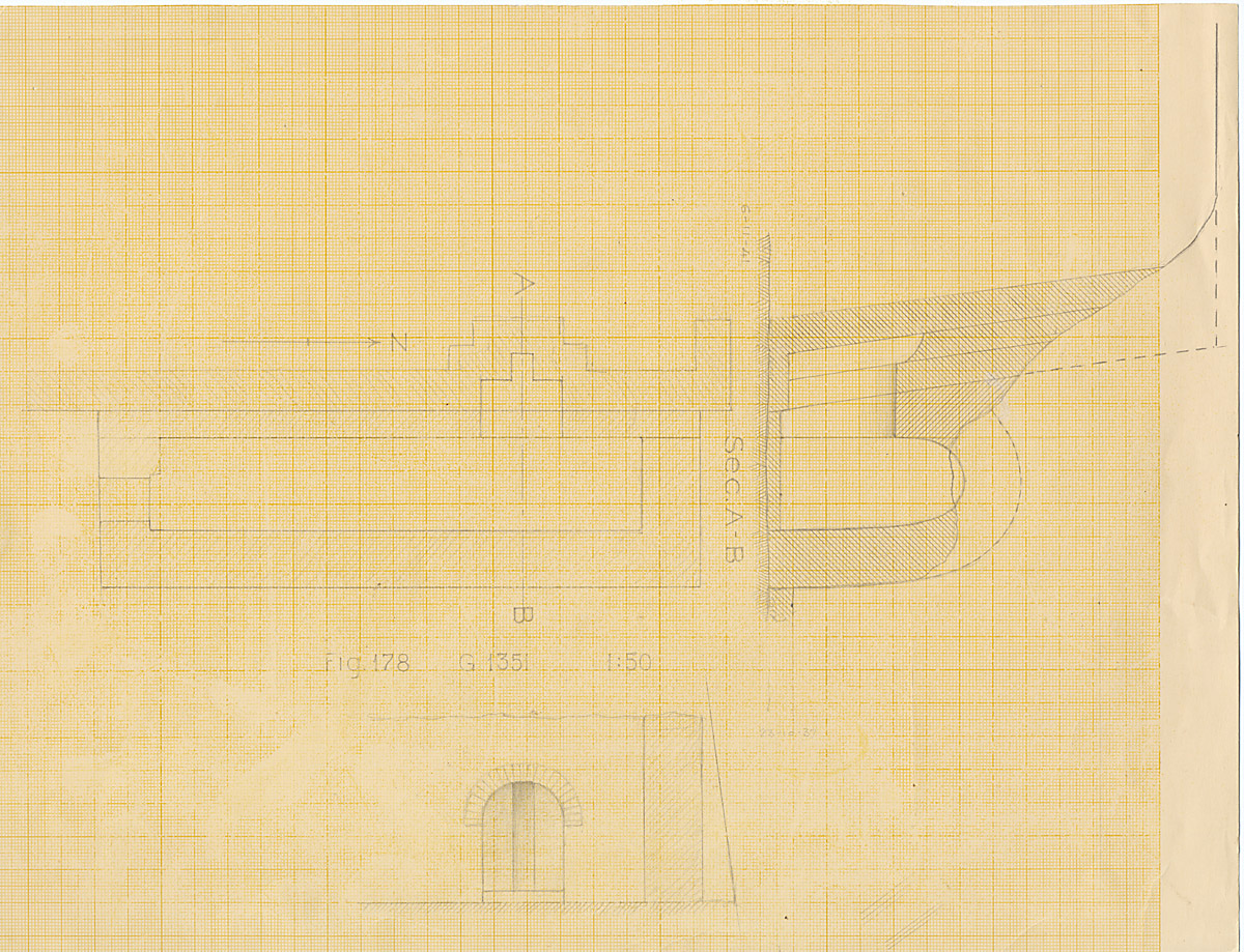 Maps and plans: G 1351, Plan and section of chapel