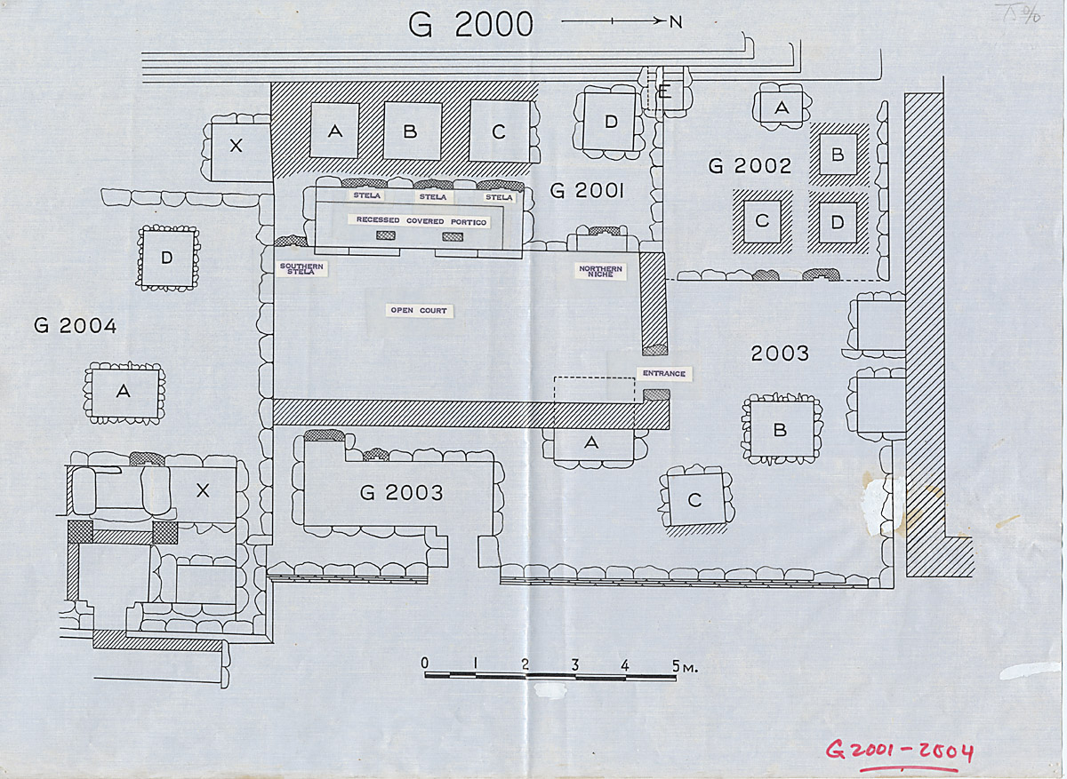 Maps and plans: Plan of G 2001, G 2002, G 2003, G 2004 (partial), with position of G 2000