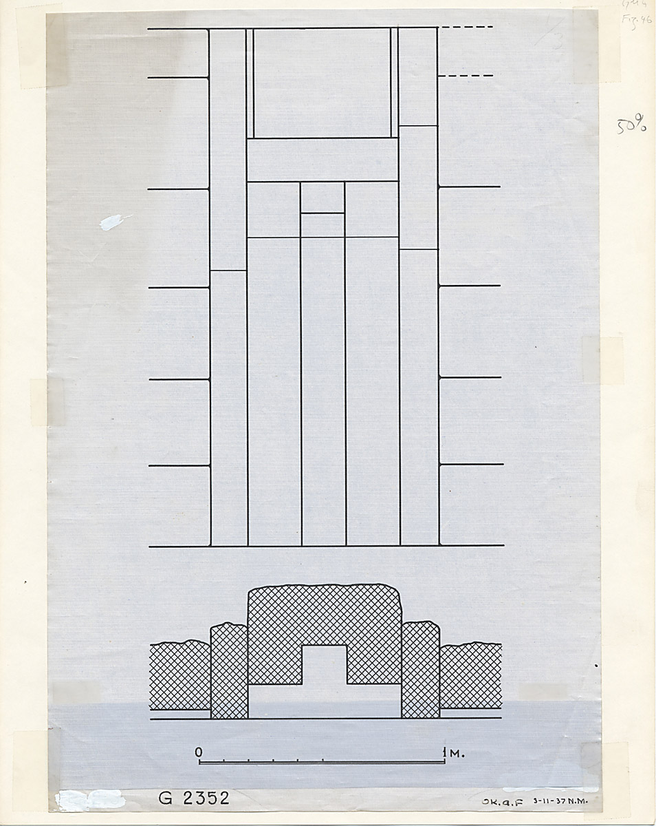 Maps and plans: G 2352, Plan and elevation of false door