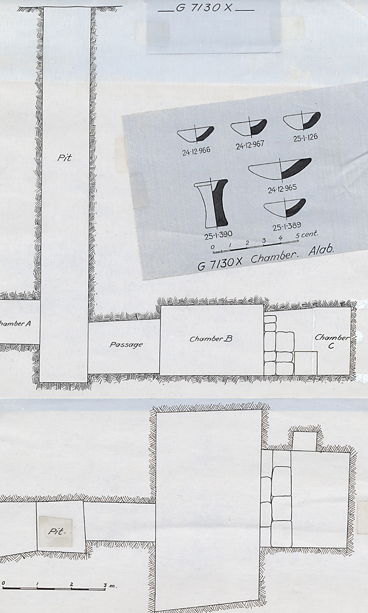 Maps and plans: G 7130, Shaft X (= G 7133), and stone vessels