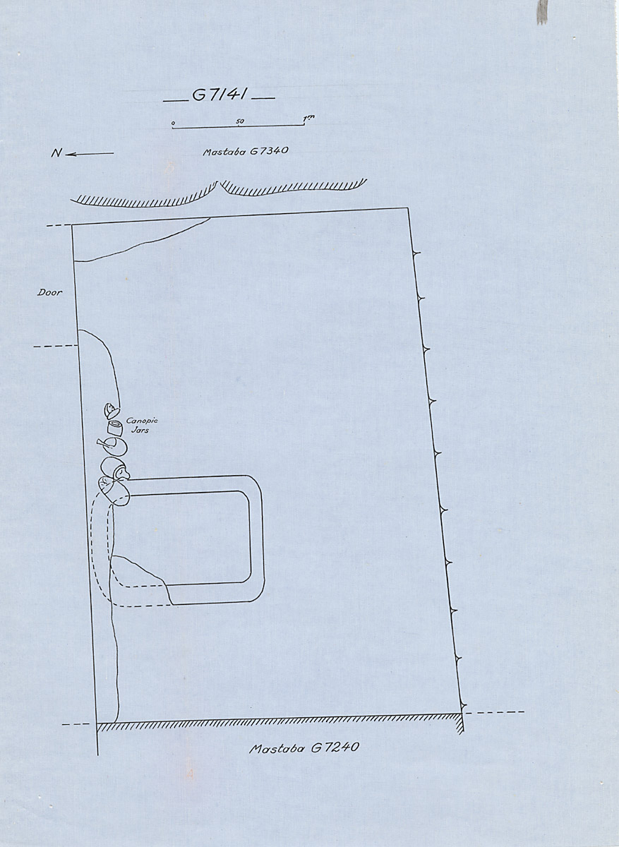 Maps and plans: G 7141, Plan, with canopic jars in situ