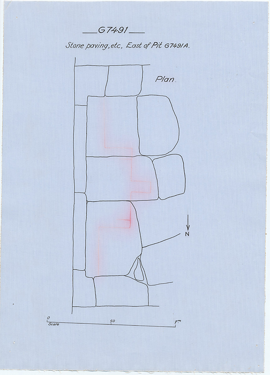 Maps and plans: G 7491, Stone paving east of shaft A