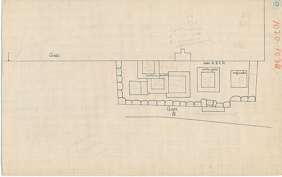 Maps and plans: Plan of G 1034, with position of G 1020