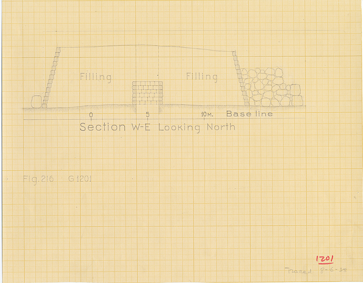 Maps and plans: G 1201, Section of mastaba west-east, looking north