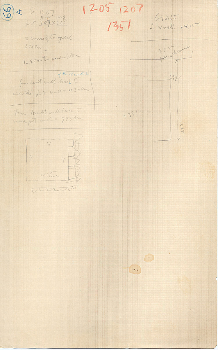 Maps and plans: Notes and sketch for G 1205, G 1207, G 1351