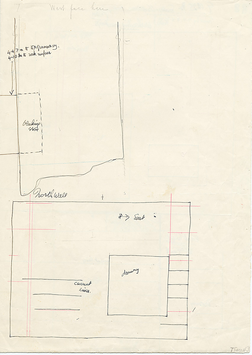Maps and plans: G 1225, Shaft A, section with wall elevation (north)