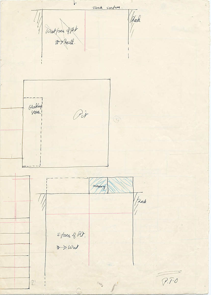 Maps and plans: G 1225, Shaft A, plan and wall elevation (south wall of shaft)