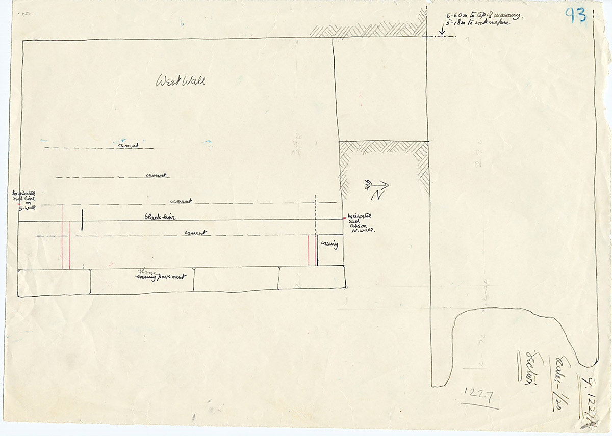 Maps and plans: G 1227, Shaft A, section with wall elevation (west)