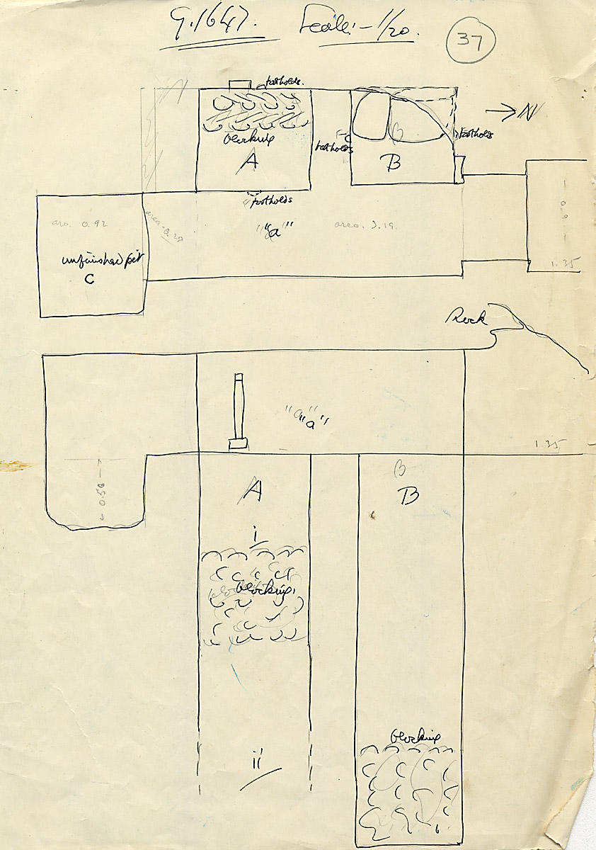 Maps and plans: G 1647, Chapel, with shafts A, B, C