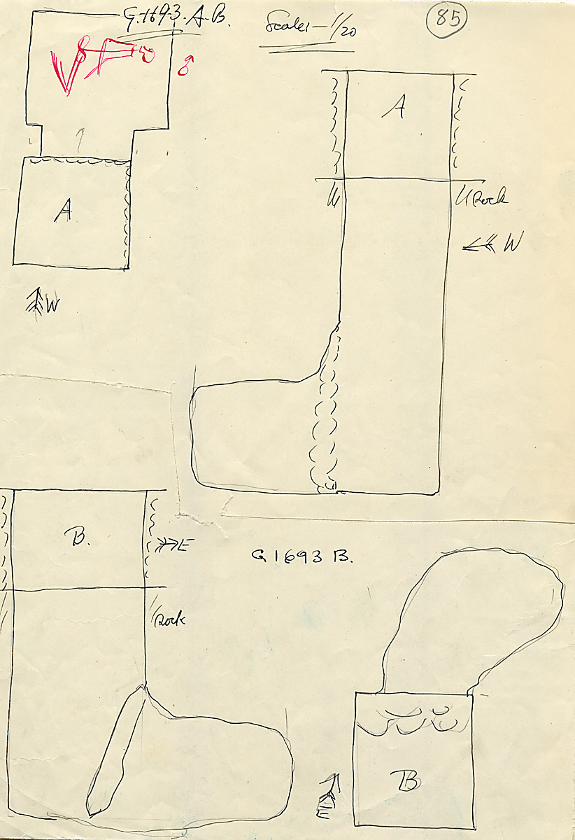 Maps and plans: G 1693, Shaft A and B