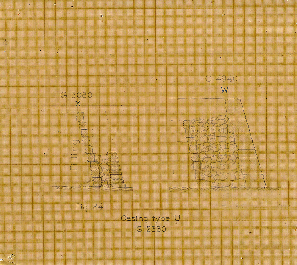 Maps and plans: G 2200 = G 5080, Section of casing type X & G 4940, Section of casing type W