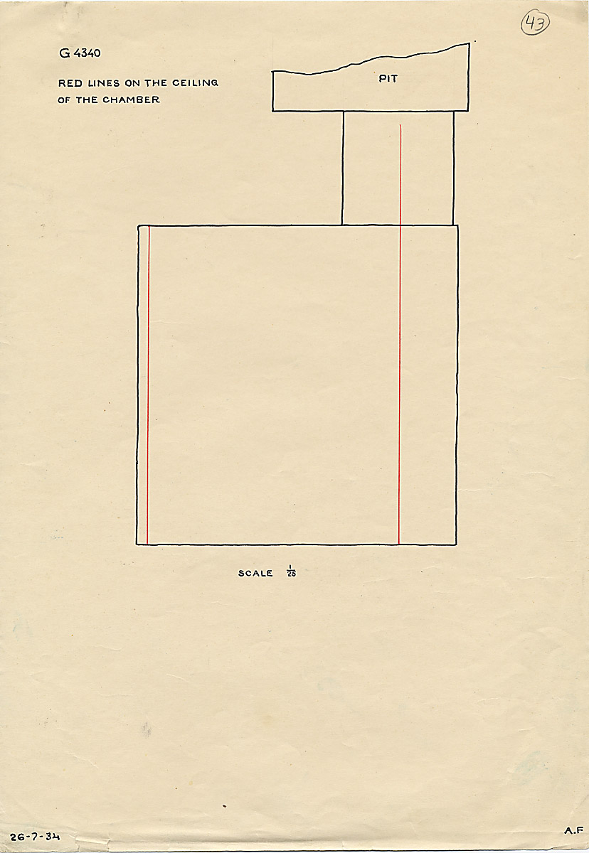 Maps and plans: G 4340, Shaft A, burial chamber, ceiling