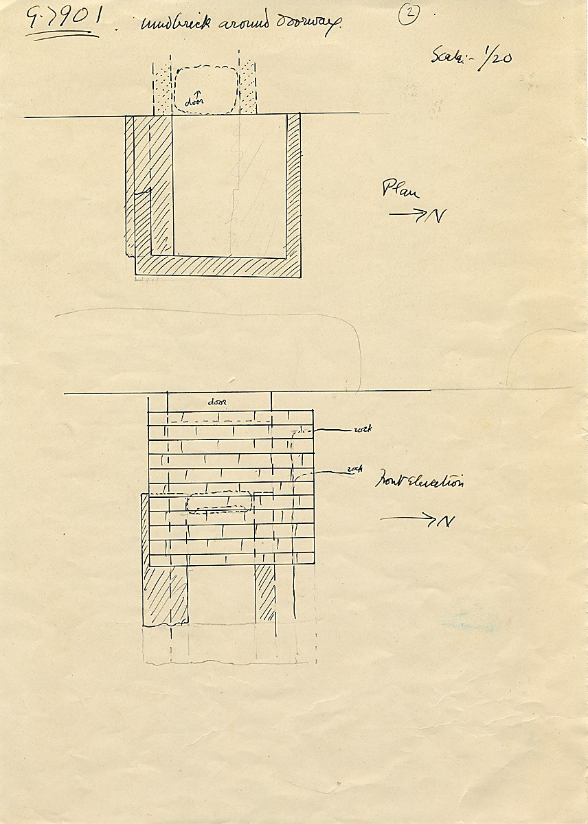Maps and plans: G 7901, Plan and elevation of mud brick around chapel entrance