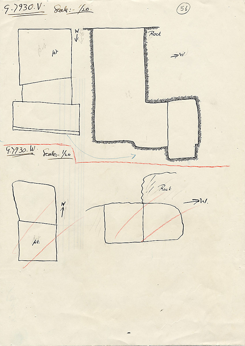 Maps and plans: G 7930, Shaft V and W