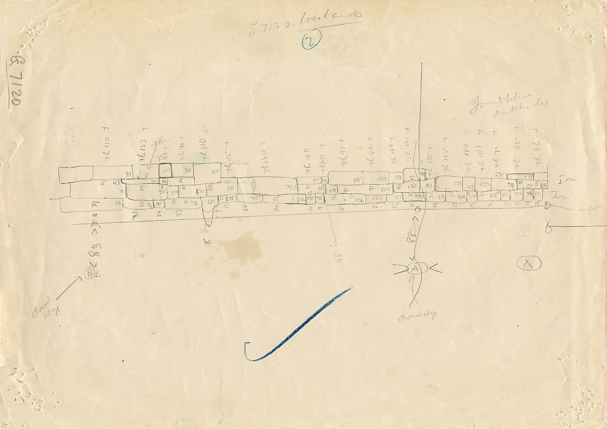 Maps and plans: G 7110-7120: G 7120, Sketch drawing of west face