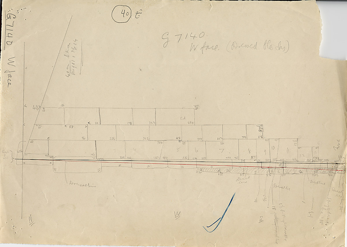 Maps and plans: G 7130-7140: G 7140, Sketch drawing of west face