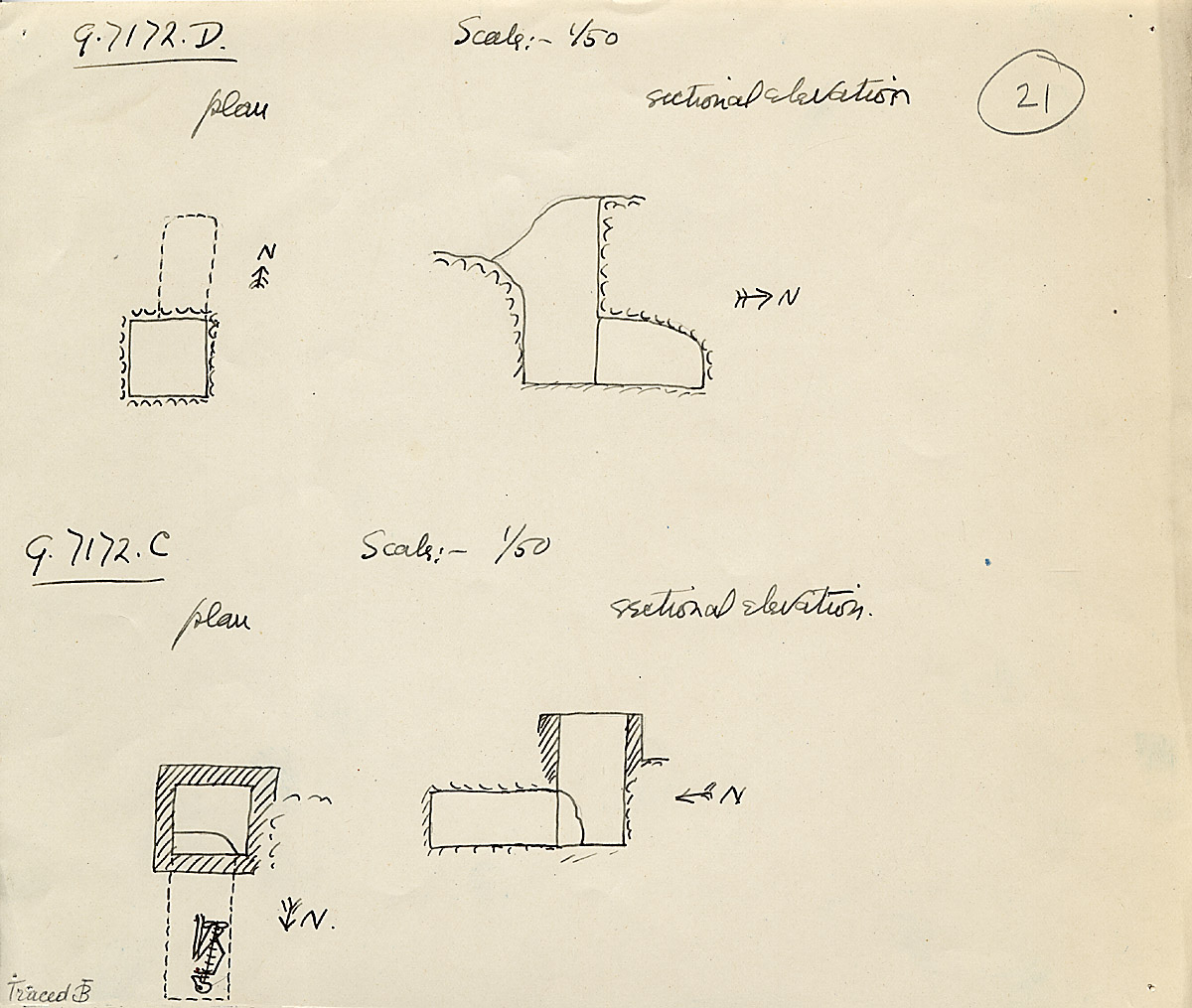 Maps and plans: G 7172, Shaft C and D