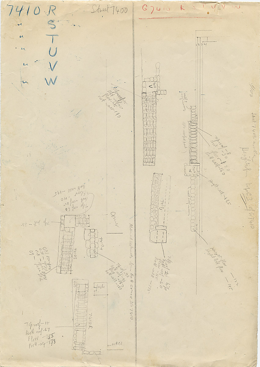 Maps and plans: Street G 7400, Sketch plan of shafts east of G 7410