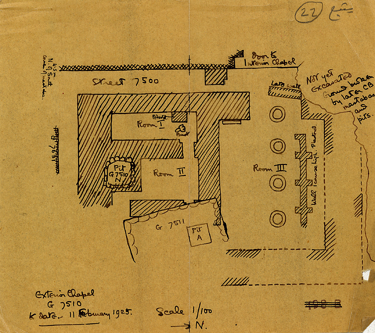 Maps and plans: G 7510, Plan of exterior chapel with position of G 7511