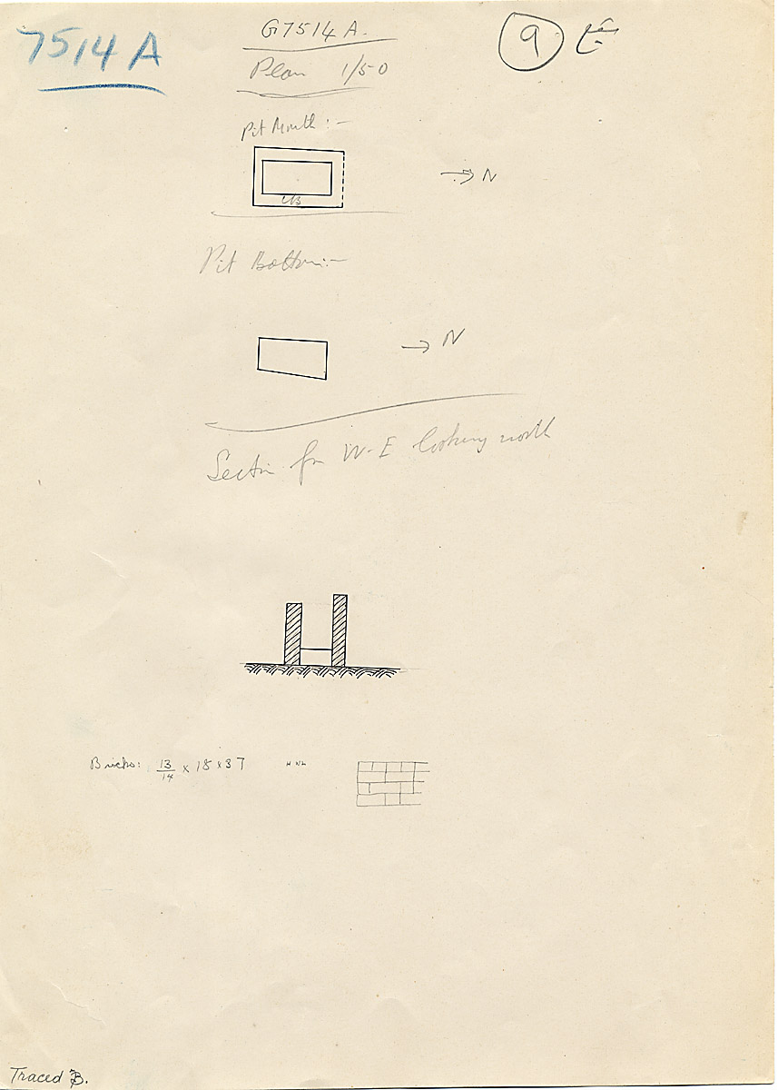 Maps and plans: G 7514, Shaft A