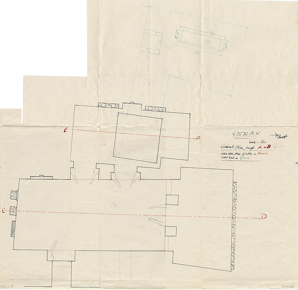 Maps and plans: G 7530-7540: G 7530, Overall plan of rock-cut chapel and burial shaft