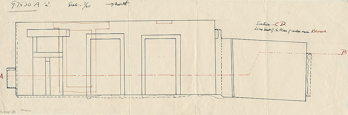 Maps and plans: G 7530-7540: G 7530, Section through rock-cut chapel