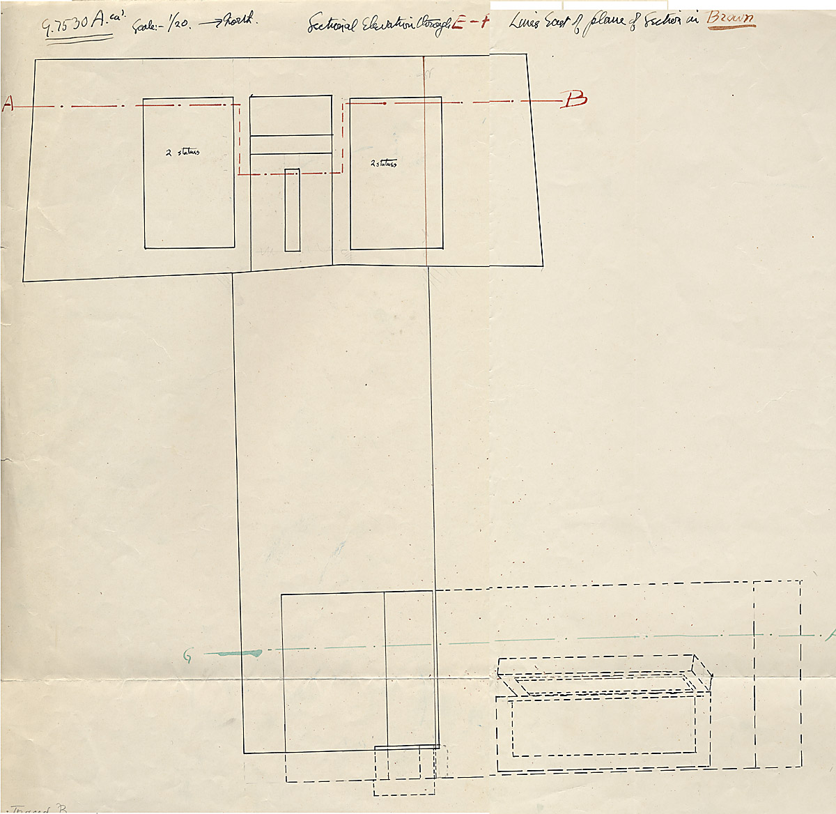 Maps and plans: G 7530-7540: G 7530, Section through west room (room b) and Shaft A