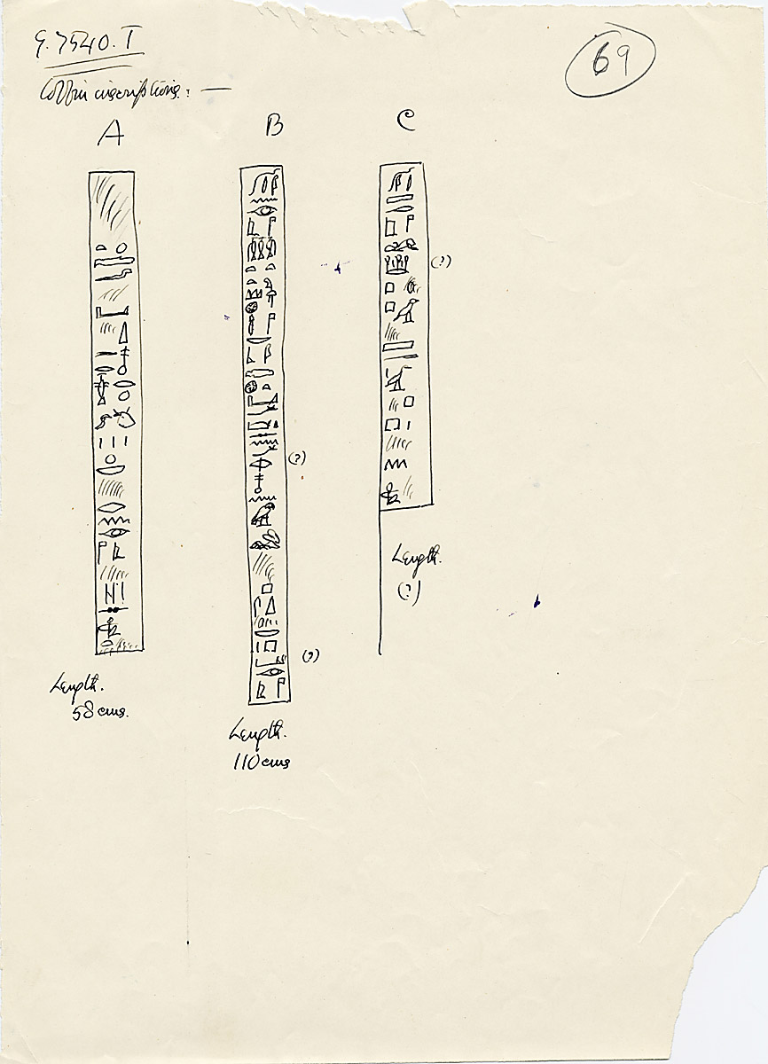 Drawings: G 7530-7540: G 7540, Shaft T, coffin inscriptions