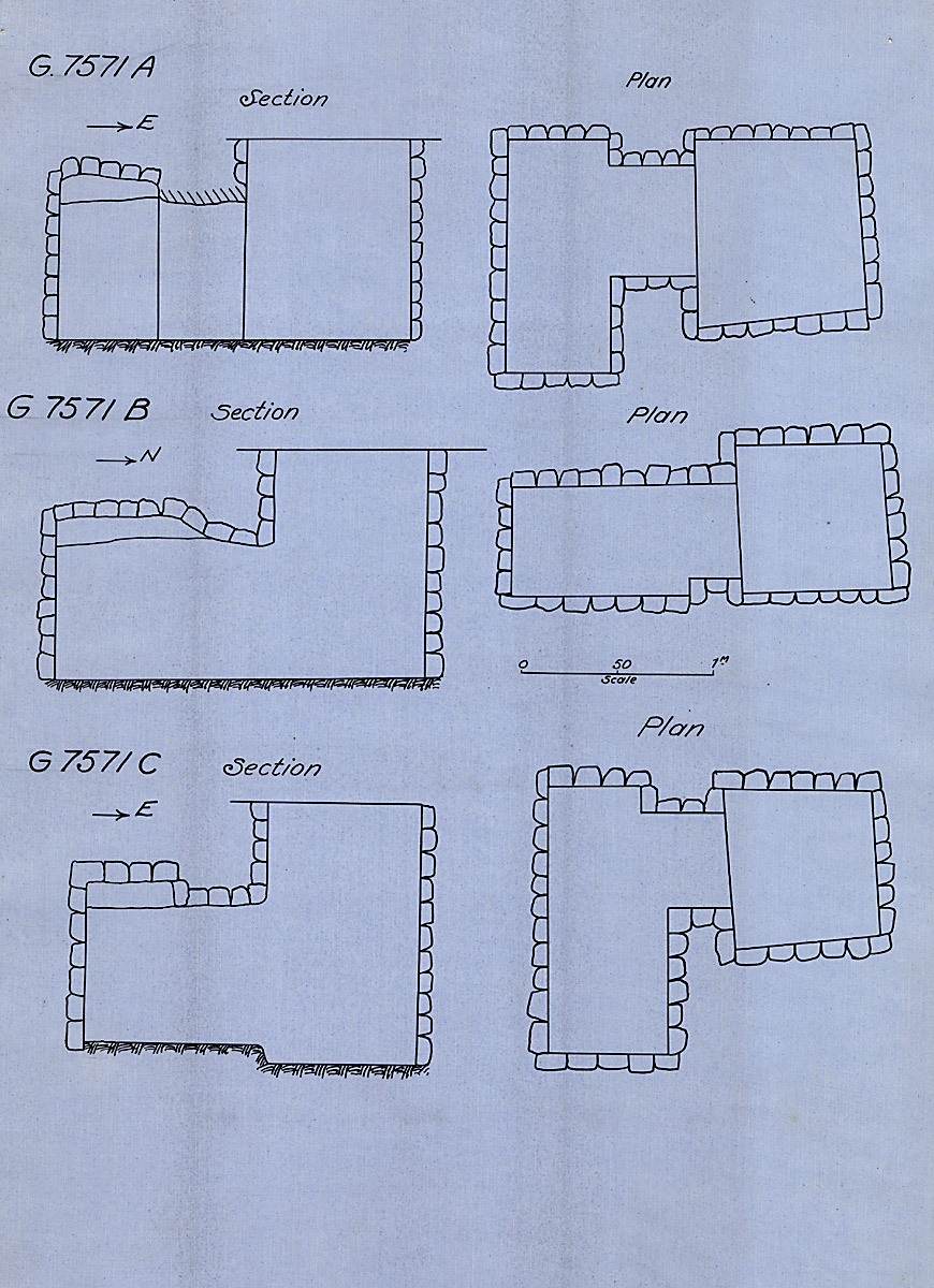 Maps and plans: G 7571, Shaft A, B, C
